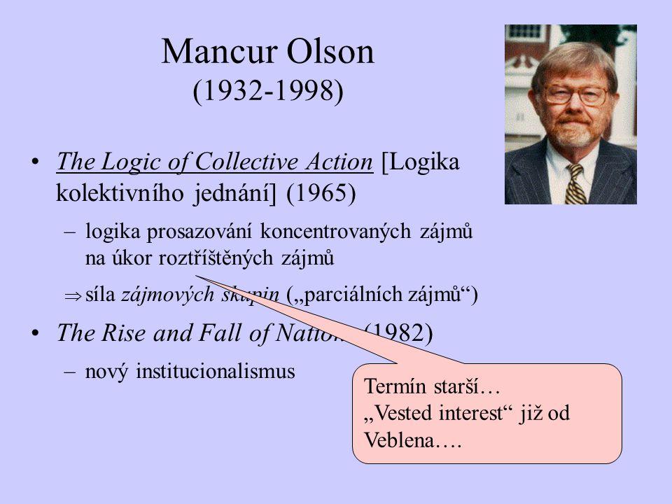 Mancur Olson (1932-1998) The Logic of Collective Action [Logika kolektivního jednání] (1965)